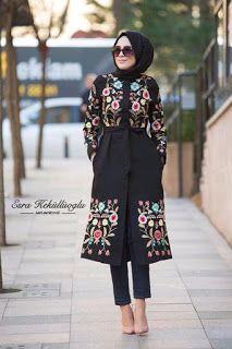 We Love Modest Fashion! Islamic Fashion, Muslim Fashion, Modest Fashion, Fashion Dresses, Batik Fashion, Abaya Fashion, Batik Muslim, Modele Hijab, Mode Abaya