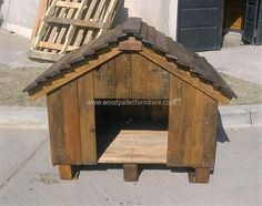 DIY doghouse made from unused wooden pallets