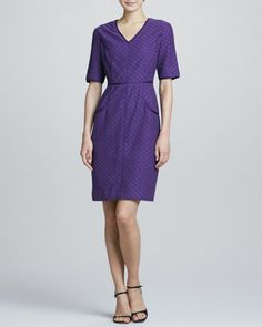 V-Neck Eyelet-Lace Shift Dress  by Bigio Collection at Neiman Marcus.