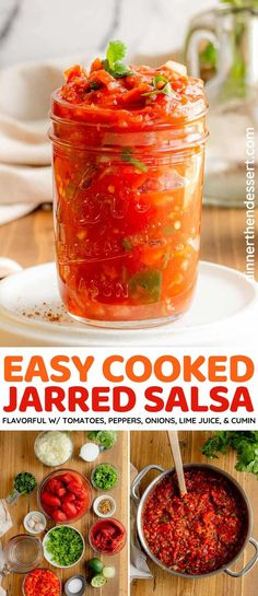Easy Cooked Jarred Salsa is easy to make with tomatoes, bell peppers, yellow onions, jalapeño peppers, lime juice, and cumin. Mild Salsa, Spicy Salsa, Hot Salsa, Mexican Food Recipes, Top Recipes, Mexican Dishes, Ethnic Recipes, Delicious Dinner Recipes