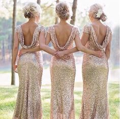 Just arrived at Lili Bridals! Sequined bridesmaid dresses...they come in a variety of gorgeous metallic colors!