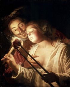 Gerard von Honthorst -1592-1656-Girl-Blowing-on-Coal-Embraced-by-Her-Lover