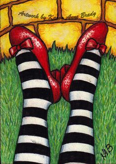 """Oz ACEO Series open edition art print titled """"The Wicked Witch Is Dead"""" by Karen Anne Brady Wine And Canvas, Land Of Oz, Ideas Hogar, Ruby Slippers, Wicked Witch, Over The Rainbow, Wizard Of Oz, The Wiz, Rock Art"""