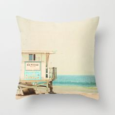 White Beach Throw Pillow by Urban Dreams Photography - $20.00