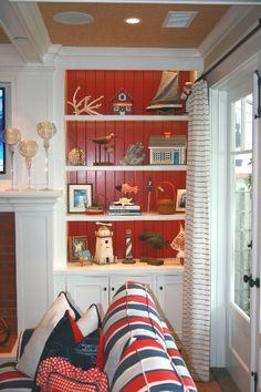 Red, White & Blue & Nice Nautical Shelves -- by Barclay Butera Coastal Homes, Coastal Decor, Coastal Living, Coastal Style, Nautical Home, Nautical Colors, Nautical Party, Beach Bungalows, Beach House Decor
