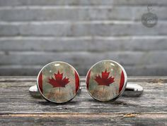 CUFFLINKS  Vintage Flag of Canada   the by GothChicAccessories, $21.00 #Cufflinks #Fashion #Jewelry #shopping