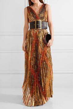 Oscar de la Renta | Pleated printed silk-blend lamé wrap gown | NET-A-PORTER.COM