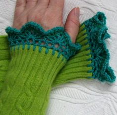 Recycled Sweater FINGERLESS GREEN GLOVES by heartfeltbaby on Etsy,