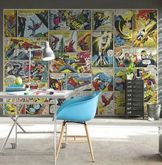 10 Best Marvel Avengers Wall Decor Ideas | Home Design And Interior | superhero wall paper den room geeky