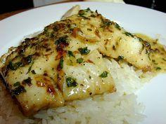 Cod in Creamy al Ajillo Sauce - Hispanic Kitchen Cod Fish Recipes, Veggie Recipes, Seafood Recipes, Cooking Recipes, Healthy Recipes, Spinach Recipes, Veggie Food, Recipes For Cod, Cooking Tips
