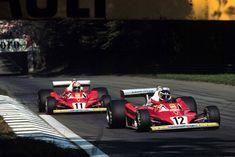 Ferrari's Carlos Reutemann and Niki Lauda at Monza