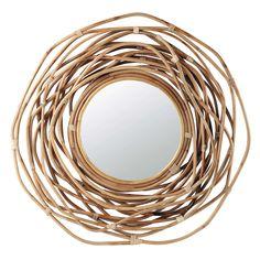 Miroir rond en bambou h 92 cm rosace maisons du monde for Miroir rond 90 cm