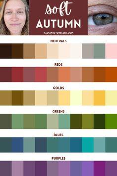 Deep Autumn, Warm Autumn, Color Me Beautiful, How To Feel Beautiful, Soft Autumn Color Palette, Seasonal Color Analysis, Color Psychology, Soft Summer, Season Colors