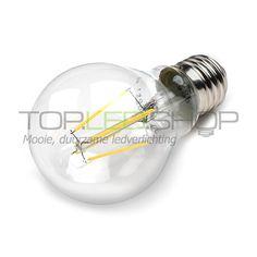 LED Lamp 230V, bol, 3W, COB, Warmwit, E27, helder www.topledshop.nl Voor de kastverlichting in de slaapkamer