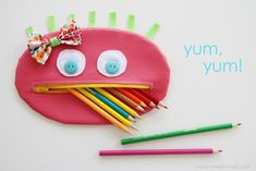 DIY Zippered Pencil Case.....a girl version! --- Make It and Love It cherri, zipper mouth, zipper pouch, pencil cases, monsters, mouths, zippers, pencils, back to school