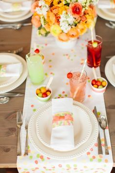 Sherbet-colored brunch styled by TomKat Studio for HGTV with FREE PRINTABLE fingerprint paper to use for napkin wraps, vase wrap, food labels, cards, etc.