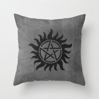 Throw Pillows featuring Supernatural Minimalist Poster 01 by Misery