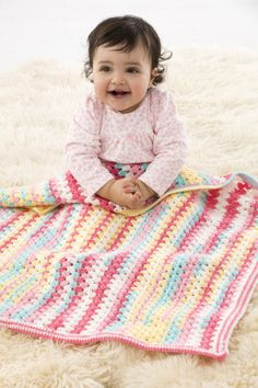 Crochet Suffolk Baby Afghan  Help yourself to another delicious scoop of Ice Cream Big Scoop to crochet the Suffolk Baby Afghan, a one-ball project of sugar-inspired cuteness!