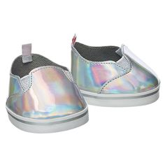 Sweet little slip-on shimmery leisure shoes. These really brighten up an outfit, and Breezy the butterfly is wearing these with her pink glitter leisure suit.