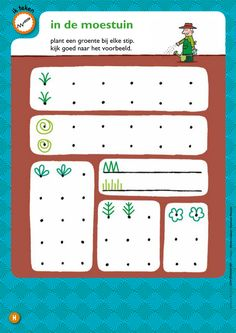 In de moestuin - versieren @keireeen Preschool Learning Activities, Spring Activities, Preschool Kindergarten, Kindergarten Worksheets, Classroom Activities, Fun Activities, Grade R Worksheets, Pre Writing, Learning Through Play
