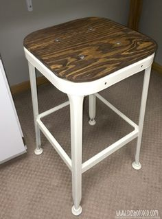 Vintage stool Hack.  Inspiration for redoing my dining room chairs.
