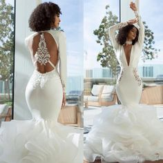Sexy Mermaid Wedding Dresses Turkey 2019 Open Back Tiers Skirt Ruffles Deep V Neck Long Sleeves Bridal Gowns African Bride Dress Plus Size Uk Wedding Dresses Vintage Bridal Gowns From Freedomlife, $138.7| DHgate.Com Wedding Dresses Uk, Wedding Dress Pictures, Bridal Dresses, Short Tight Prom Dresses, Cheap Gowns, Long Sleeve Wedding, Mermaid Prom Dresses, Marie, Vintage Bridal