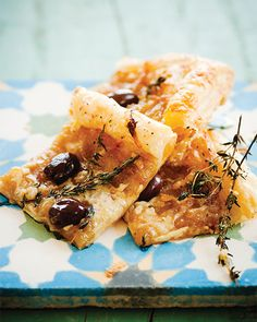 Caramelized onion and olive puff pastry
