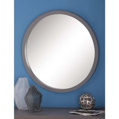 null 32 in. Modern Round Framed Wall Mirror in Gray