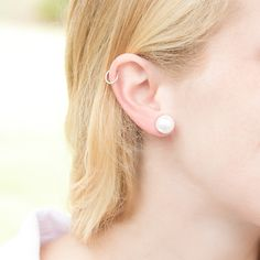 12MM Glass Pearl Earrings at HandPicked