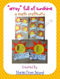 Arrays Full of Sunshine {a multiplication math craftivity} I did this with the rays of the sun being the arrays. Helped a lot of students understand repeated addition. TWEAK THIS FOR DIVISION Teaching Multiplication, Teaching Math, Teaching Ideas, Maths, Second Grade Math, 4th Grade Math, Math Resources, Math Activities, Math School