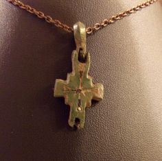 Medieval period bronze Reliquary Cross.  1200 AD on Bronze plated 20 inch chain by TreasuresOld2New on Etsy