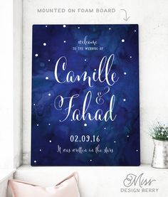 The Zoe - Large Wedding Welcome Sign, Watercolor Wedding, Rustic Wedding Signage, written in the stars, Navy Wedding Sign Printable Starry Night Wedding, Starry Night Sky, Starry Eyed, Handmade Wedding, Rustic Wedding, Classic Wedding Themes, Watercolor Night Sky, Star Wedding, Moon Wedding