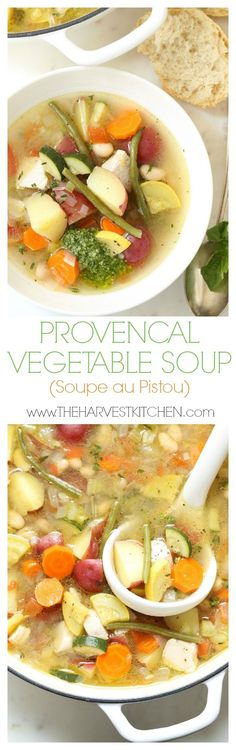 Soupe au pistou is a French vegetable soup similar to the Italian version of minestrone.  This is a crowd-pleasing  hearty vegetable soup loaded with summer vegetables like zucchini, yellow squash and tomatoes, potatoes, beans, herbs and a rich chicken stock.  A heaping dollop of pesto (or pistou) is stirred in at the end. Easy soup recipe!  @theharvestkitchen.com