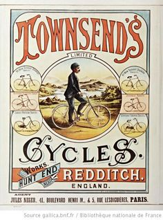 Townsend's Limited, Cycles... England. Agent Jules Neger, Paris