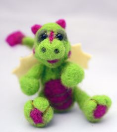 Tiny Dragon Needle felted Dragon Green OOAK Toy by innercreatures,