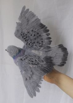 Dove felt OOAK felted artist toy bird sculpture by by strays, $390.00