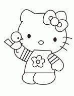 Cartoon Hello Kitty Holding Bird Coloring Page