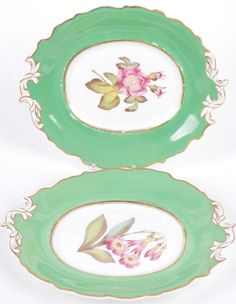 ANTIQUE PORCELAIN GROUP OF 2 PLATTERS EXPERTLY PAINTED FLORAL DESIGN, SEVRES STYLE