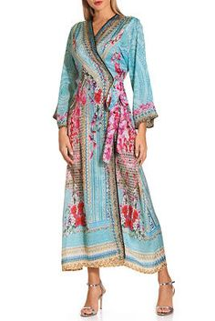 Wrap yourself in this alluring orchid print maxi dress, detailed with shimmering embellishment, three-quarter sleeves and side seam pockets. Silky soft and luxurious, wear th Sexy Maxi Dress, Maxi Wrap Dress, Sexy Dresses, Dress Outfits, Dresses For Work, Modest Prom Gowns, Figure Flattering Dresses, Lace Trim Shorts, Bodice Top