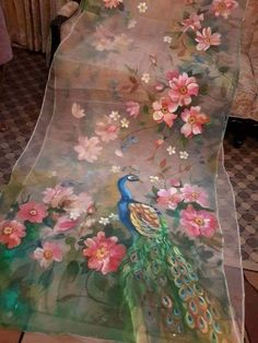 Best 10 Authentic hand panted dupptta order on whatsapp 9424505534 – SkillOfKing. Fabric Painting On Clothes, Dress Painting, Painted Clothes, Silk Painting, Fabric Art, Painting Art, Paintings, Saree Painting Designs, Fabric Paint Designs