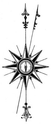 Compass Rose Tattoo, without the magnetic North.. Maybe an ornate anchor instead of the South Arrow and a rising Phoenix above the North Arrow..