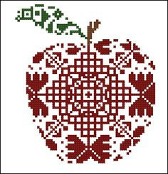 Here is a stylized cross-stitch pattern of a good apple to decorate . Cross Stitch Fruit, Cross Stitch Kitchen, Just Cross Stitch, Cross Stitch Needles, Counted Cross Stitch Patterns, Cross Stitch Designs, Cross Stitch Embroidery, Cross Stitch Silhouette, Blackwork Patterns