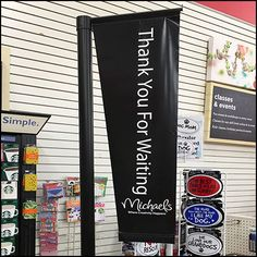 Flown high and pennant shaped Michaels flies this Thank You For Waiting Checkout Flag. A master waiting queue feeds all checkout stations. Customer Appreciation, Close Up, Communication, Waiting, Flag, Communication Illustrations, Flags