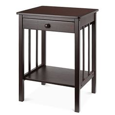 HOMFA Bamboo Night Stand with Drawer and Shelf Storage Multipurpose End Side Table Home Furniture, Retro Color. For product info please visit: https://homeandgarden.today/homfa-bamboo-night-stand-with-drawer-and-shelf-storage-multipurpose-end-side-table-home-furniture-retro-color/