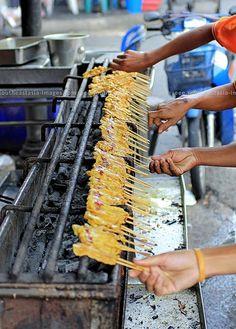 Street Food: Pork Satay Production Line in Thailand