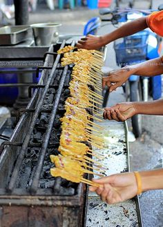 Street Food: Pork Satay Production Line in Thailand