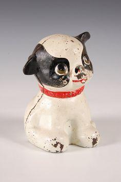 CIRCA 1930'S CAST IRON DOG STILL BANK
