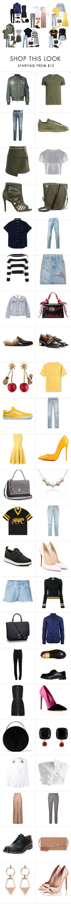 """""""me and aghhhhh"""" by yusufbudiman on Polyvore featuring Sørensen, Maison Margiela, adidas, Chicwish, Related, Schutz, Proenza Schouler, Gucci, Boutique Moschino and Levi's"""