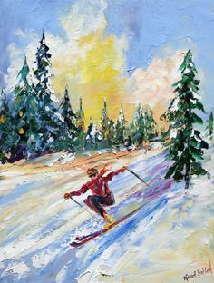 "Title: Winter Downhill Skiing  Original oil painting by Karen Tarlton  Size: 12""x 16"""