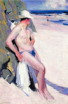 thunderstruck9:  Francis Campbell Boileau Cadell (Scottish, 1883-1937), The Bather (Charles Oliver). Oil on canvas, 30 x 20 in.